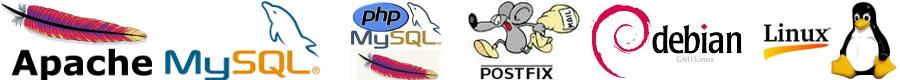 Logá používaných technoogií: Apache, PHP, MySQL, Postfix a BIND